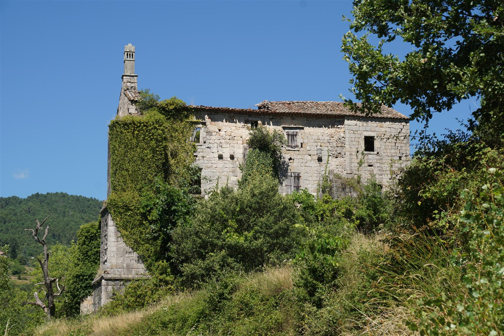 ruined Cistercian barn at Chabrolières